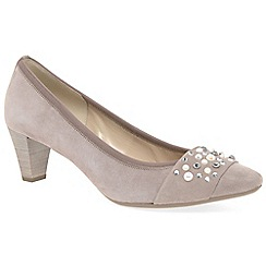 Gabor - Beige suede 'Guide' mid heeled court shoes