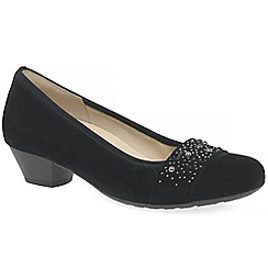 Gabor - Black suede 'Kinloch' low heeled court shoes