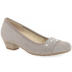 Gabor - Beige suede 'Kinloch' low heeled court shoes