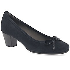 Gabor - Navy suede 'Stain by' mid heeled court shoes