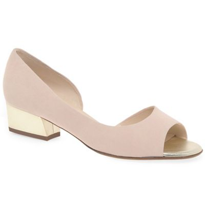 Pale pink suede 'Pura' low heeled open court shoes cheap OAEztRKy