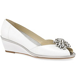 Van Dal - White leather 'Salamanca' mid heeled wedges