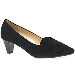 Gabor - Black suede 'Tricky' mid heeled court shoes