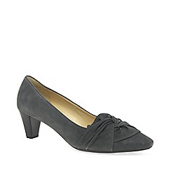 Gabor - Dark grey suede 'Tricky' mid heeled court shoes