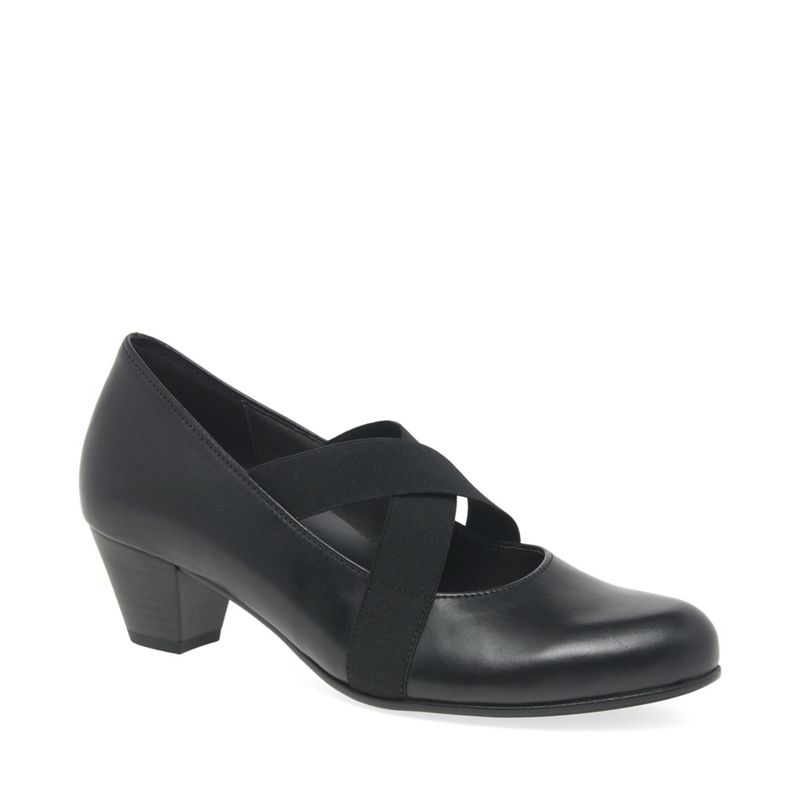 Gabor - Black Leather Marley Mid Heeled Court Shoes