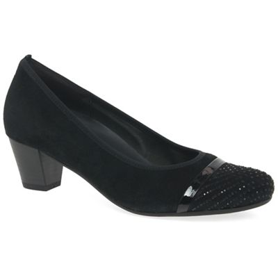 Gabor   Black Suede 'tori' Mid Heeled Court Shoes by Gabor