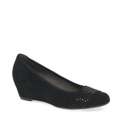 68a3dae70ba Gabor - Black suede  Fodder  wedge heel shoes