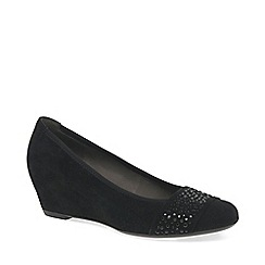 Gabor - Black suede 'Fodder' wedge heel shoes