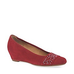 Gabor - Red suede 'Fodder' wedge heel shoes