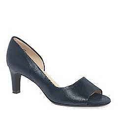 Peter Kaiser - Navy Leather 'Beate' Mid Heeled Open Court Shoes