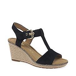 Gabor - Dark blue suede 'Karen' high wedge sandals