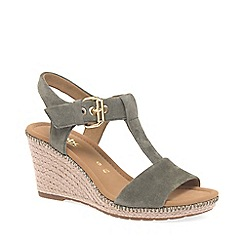 Gabor - Olive suede 'Karen' high wedge sandals