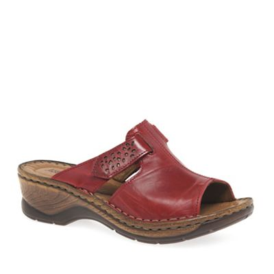 Josef Seibel - Dark red 'Catalonia' womens velcro fastening sandals