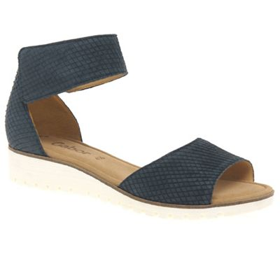 Gabor - Dark blue leather 'Penny' flat sandals