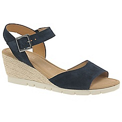 Gabor - Navy leather 'Nieve' high heeled wedge sandals