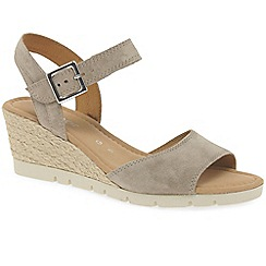 Gabor - Beige 'Nieve' high heeled wedge sandals