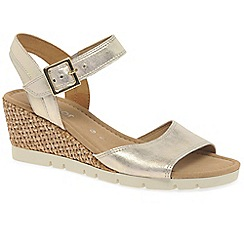 Gabor - Gold leather 'Nieve' high heeled wedge sandals