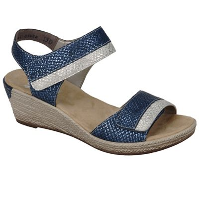Rieker - Blue 'Tote' wedge sandals