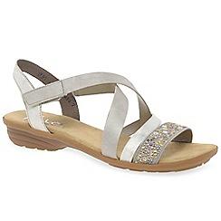 Rieker - Light grey 'Copper' womens flat sandals