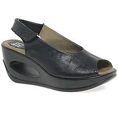Fly London - Black 'Hett' womens wedge heel sandals