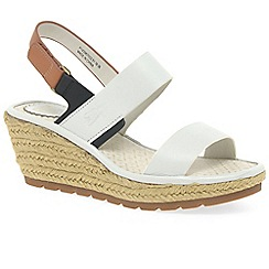 Fly London - White leather 'Ekan' wedge sandals