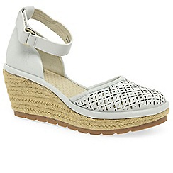 Fly London - White leather 'Etic' high heeled espadrilles