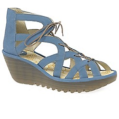 Fly London - Blue leather 'Yeli' high wedge sandals