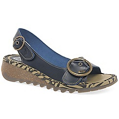 Fly London - Navy leather 'Tram' womens casual sandals
