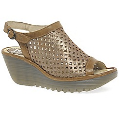 Fly London - Gold leather 'Yuti' Womens Wedge Heel Sandals