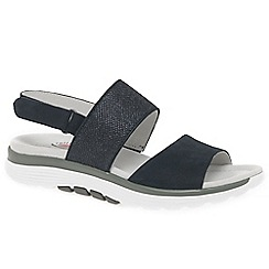 Gabor - Navy leather 'Sisco' low wedge sandals