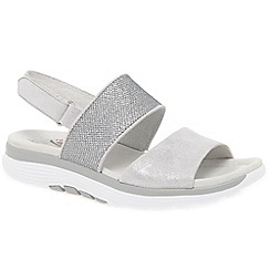 Gabor - Silver leather 'Sisco' low wedge sandals