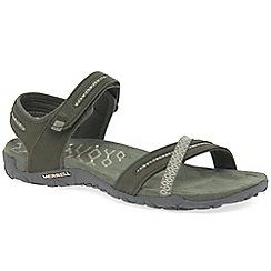 Merrell - Olive nubuck 'Terran Cross II' casual sandals