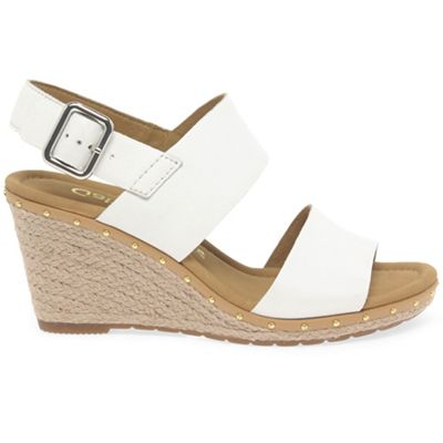 Light gold leather 'Anna 2' high heeled wedge sandals