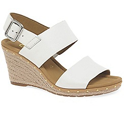 Gabor - White leather 'Anna 2' high heeled wedge sandals