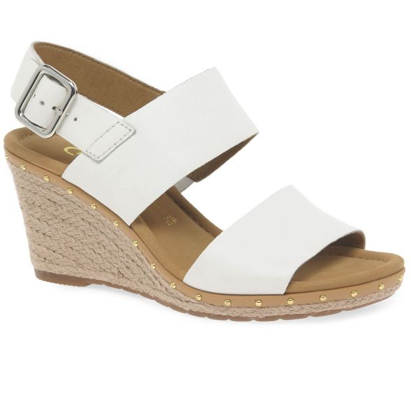 high heeled White Gabor sandals 2' wedge 'Anna leather nAxUq7