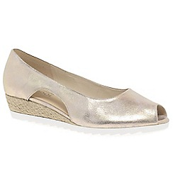 Gabor - Gold leather 'Roseford' low heeled wedges
