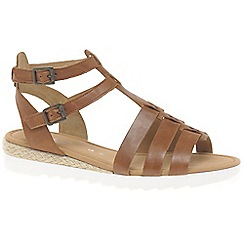 Gabor - Brown leather 'Felicity' low heeled Gladiator sandals