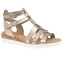 Gabor - Gold leather 'Felicity' low heeled Gladiator sandals