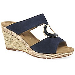 Gabor - Navy suede 'Sizzle II' high wedge heel mules