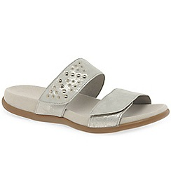 Gabor - Silver leather 'Preston' low heeled mules