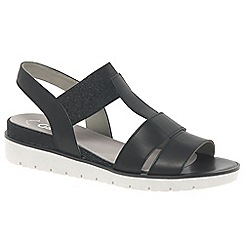 Gabor - Black leather 'Kiana' low wedge heeled sandals