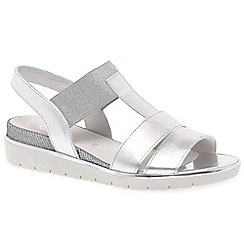 Gabor - Silver leather 'Kiana' low wedge heeled sandals
