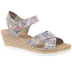 Rieker - Multi Coloured leather 'Halifax' high wedge heeled sandals