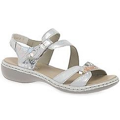 Rieker - Silver leather 'Orbit' low heeled sandals