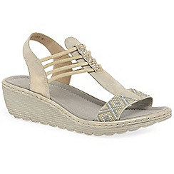 Rieker - Beige 'Quads' wedge heel sandals