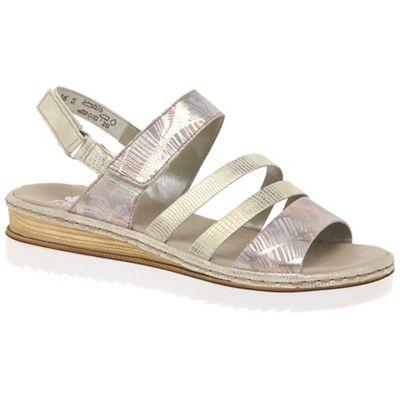 Rieker - Multi Coloured 'Catwalk' wedge mid heeled sandals