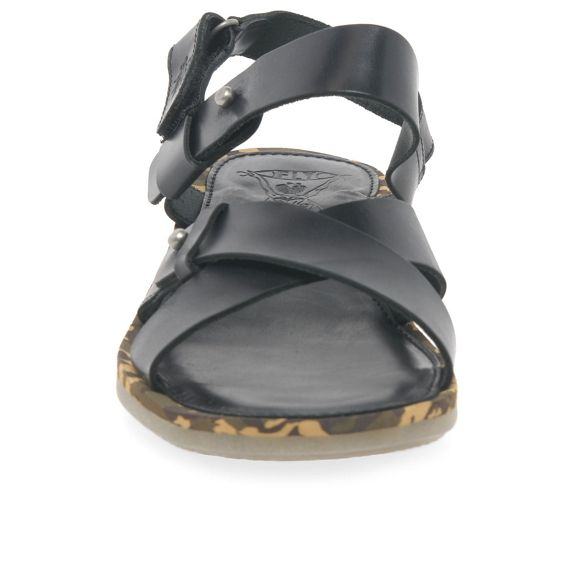 London sandals Black Fly low wedge 'Crib' heeled Zfxdnxq
