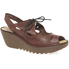 ecdb3065e09 Fly London - Brown leather  Yend  high heeled wedge sandals