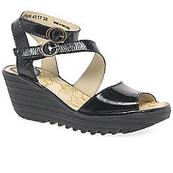 Fly London - Black patent leather 'Yisk' mid heeled wedge sandals
