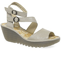 Fly London - Silver leather 'Yisk' mid heeled wedge sandals